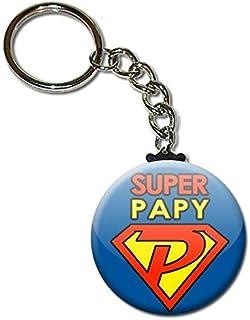 Super Papy Porte Clés Chaînette 3,8 centimètres Idée Cadeau Accessoire Papi Fête des Grands Pères Noël Anniversaire