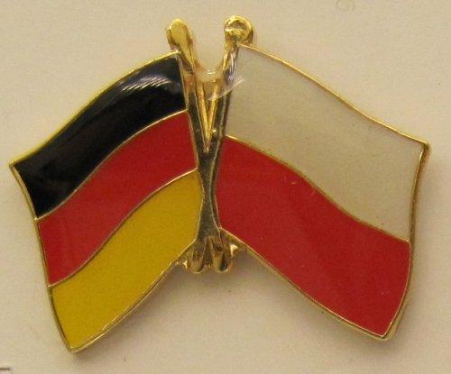 Polen / Deutschland Fre&schafts Pin Anstecker Flagge Fahne Nationalflagge Doppelpin Flaggenpin Badge Button Flaggen Clip Anstecknadel