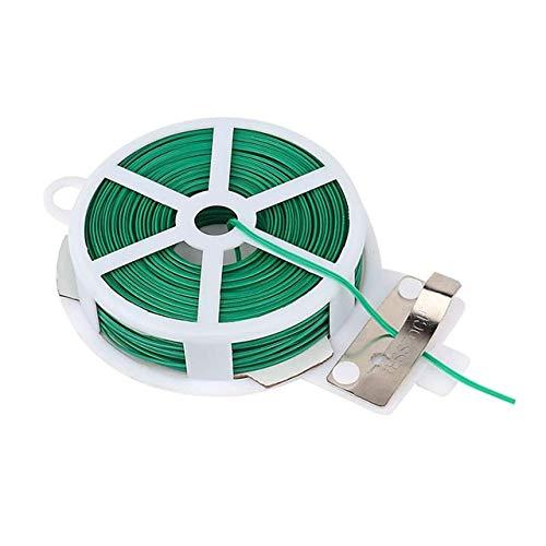 QDGXL Cable jardín de flores de la torcedura del lazo atadura de cables de plástico atadura de cables de alambre del cable del carrete con el cortador de jardinería Planta Bush de unión 20/50 / 100M T