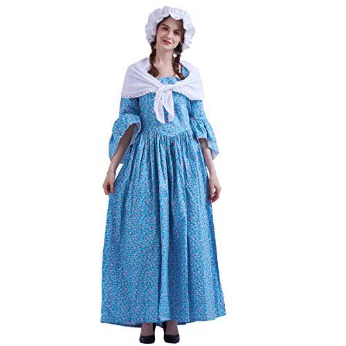 GRACEART Vestido de Traje de Mujer pionero Colonial (S, BLU)