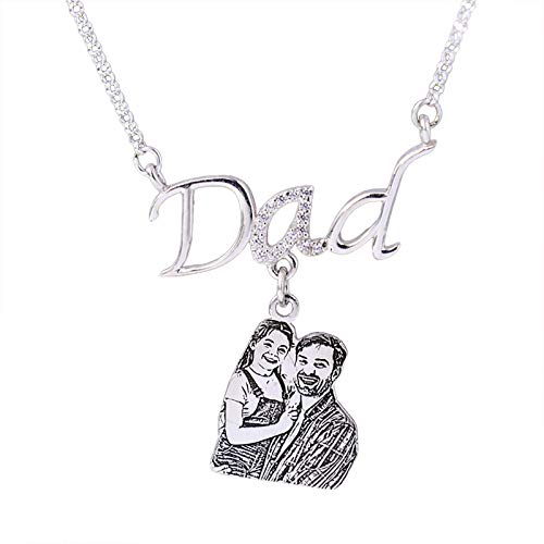 925 Silver Custom Dad Photo Necklace Personalized Name Father Pendant Necklace Unique Birthday Anniversary Necklace for Men Silver Dad-14'(35cm)