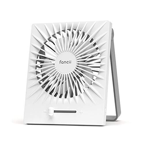 Fancii Ventilador USB Portátil de Sobremesa, Ultra Silencioso, Recargable y Turbo Potente - Ventilador de Escritorio con Múltiples Velocidades, 17cm de Alto, Batería de 2000 mAh