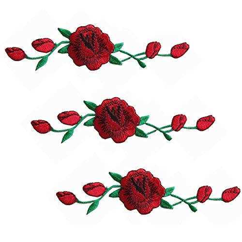 Woohome 3 PCS Rose Flower Patch Embroidered Iron on Applique Patch for Craft, Sewing, Clothing, Other Fabrics