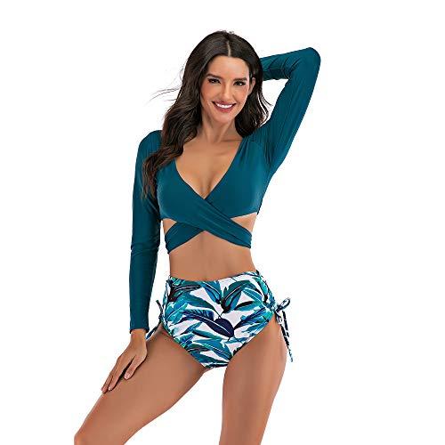YUANKONG Sweetneed chida yi Conjunto de Bikini Mujer Sexy brasileñas (Long Sleeve Bikini, XXL)