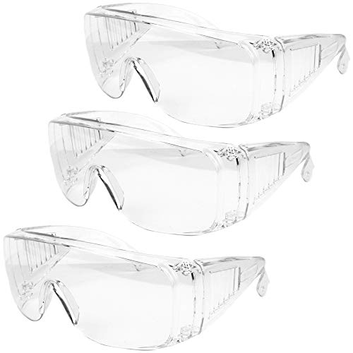 3 Pack Safety Glasses Over Eyeglasses (Anti-Fog & Scratch Resistant) Wrap Around Crystal Clear Eye Protection - OTG Safety Goggles are Perfect for Construction, Shooting, Lab Work, & More!