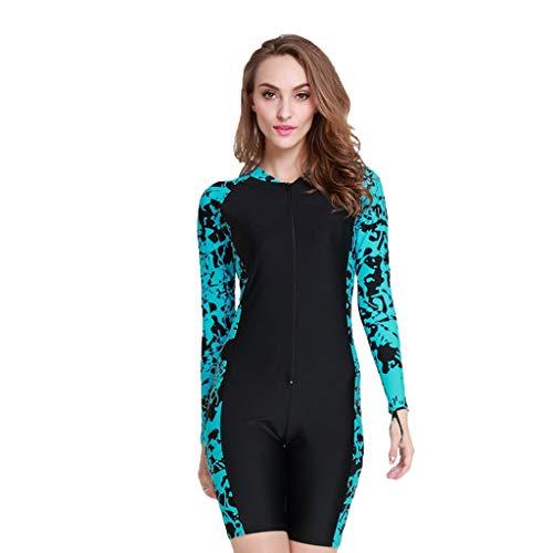 iYmitz Damen Einteiliger Surfanzug UV-Anzug Schutz Schwimmanzug Overall Watersport Schnorchelanzug Wetsuit(Himmelblau,2XL)