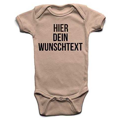 Baby Body mit Wunschtext - Selber gestalten mit dem Amazon Designertool - Tshirt Druck - Shirt Designer Babybody Strampler powderpink 0-3 Monate