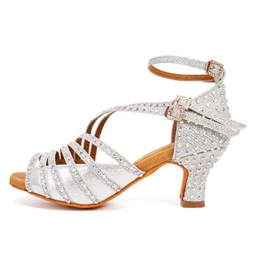 HROYL Mujer Zapatos de Baile Latino/Moderno/Samba/Chacha para Mujer Satin Zapatos de Baile de Salón ES7012