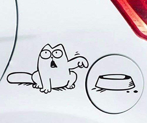 Generic Simons Cat Aufkleber für z.b Tankdeckel Ohne Aufruck im Napf Outline Links oder Rechts (schwarz Katze Links)