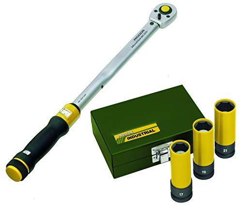 Proxxon Drehmomentschlüssel MicroClick MC 200, 40-200 Nm, 1/2' + Impact Radmuttern-Satz, 1/2', 3-tlg. (17, 19, 21 mm)