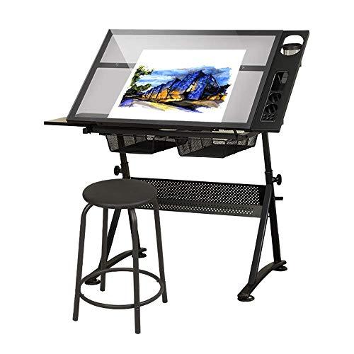 Höhenverstellbarer Zeichentisch,Zeichnungsentwurfstisch,Bastelarbeitsplatz,Kippbare Tischplatte,mit Hocker und Aufbewahrungsschublade,zum Lesen,Schreiben,Kunst
