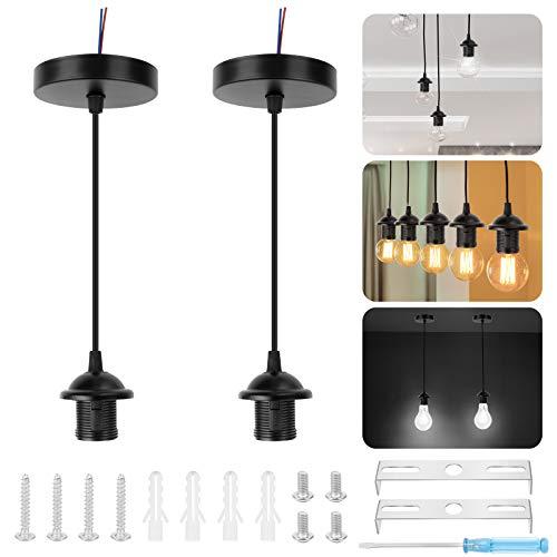 2 piezas E27 portalámparas con cable, portalámparas E27 lámpara de montaje en techo suspensión cable de montaje en techo colgante luz colgante portalámparas, negro