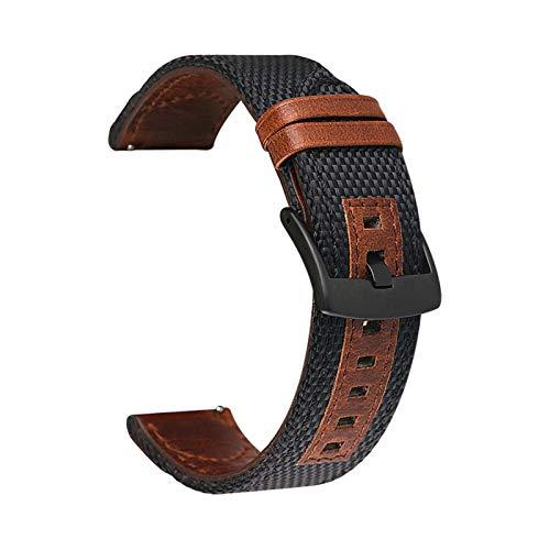 LAAGFC Correa de piel auténtica de nailon de 20 mm, 22 mm, 24 mm, para Samsung Galaxy Watch Active2 Gear S2 S3 para Huawei GT 2 Amazfit Bip (color de la correa: negro, ancho de la correa: 22 mm)