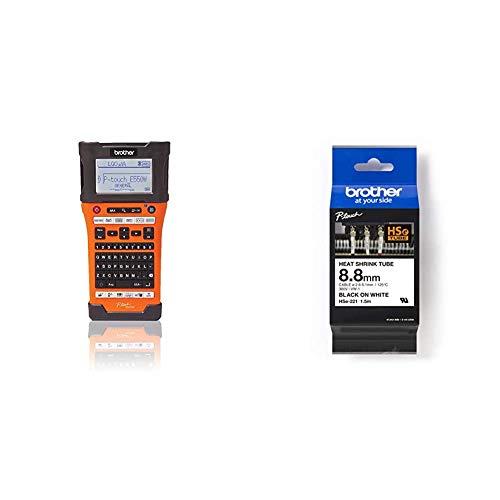 Brother PT-E550WVP Industrielles PC-Beschriftungsgerät mit WLAN (für 3,5-24 mm breite TZE-Schriftbänder und 5,8-23,6 mm breite) & Original P-Touch Schrumpfschlauch, 8,8 mm zur Kabelbeschriftung