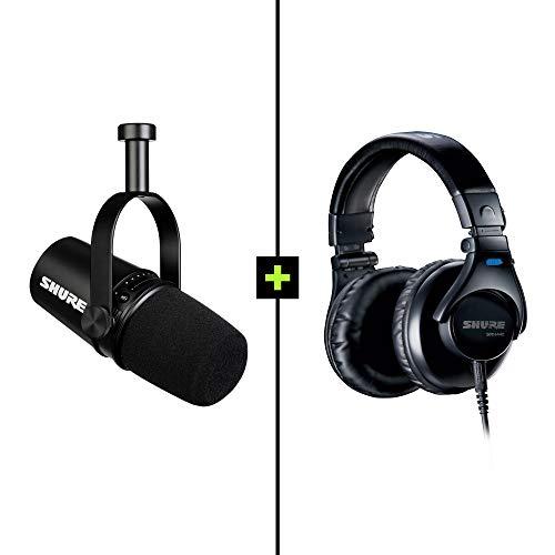 Shure MV7 Micrófono Dinámico USB & XLR y Auriculares con Cable SRH440 para Podcasts, Grabación, Streaming y Juegos, Salida para Auriculares Integrada, Tecnología de Aislamiento de Voz, Color Negro