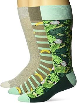 3-Pack Amazon Brand Men's Cotton Tropical Hawaiian Print Crew Socks