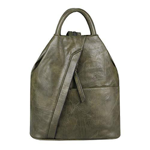 OBC Damen Rucksack Tasche Schultertasche Leder Optik Daypack Backpack Handtasche Tagesrucksack Cityrucksack (Grün-Army)