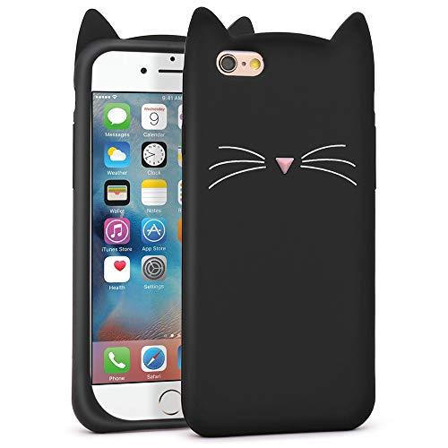 LKKJ Carcasa para iPhone 6, iPhone 6S, diseño de dibujos animados en 3D, color negro, con orejas de gato y gatito