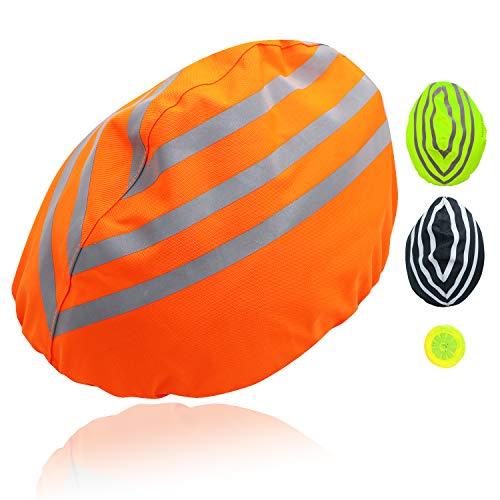 Yunjiadodo fahrradhelm regenüberzug Regenschutz Helm mit reflektierendem Streifen Fahrrad Helm Cover Wasserdichter regenhaube fahrradhelm (Orange, 1 Stück)