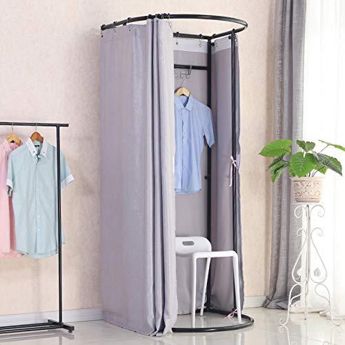 Vestuario móvil de pie en la tienda de ropa, tela gruesa, tasa de sombreado 90% de espacio grande, montaje simple, apto para tiendas de ropa, farmacias, oficinas (color: plata).