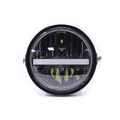 Universal motorrad projektor scheinwerfer scheinwerfer 7 zoll 12 v 55 watt led scheinwerfer für harley honda yamaha suzuki cafe racer bobber (black)