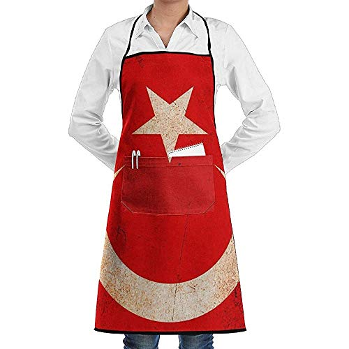 Bib Schort Turkse Vlag Schort Kant Volwassen Mens Womens Chef Verstelbare Polyester Lange Volledige Zwarte Koken Keuken schorten Bib Met Zakken Voor Restaurant Bakken Crafting Tuinieren Bbq Grill