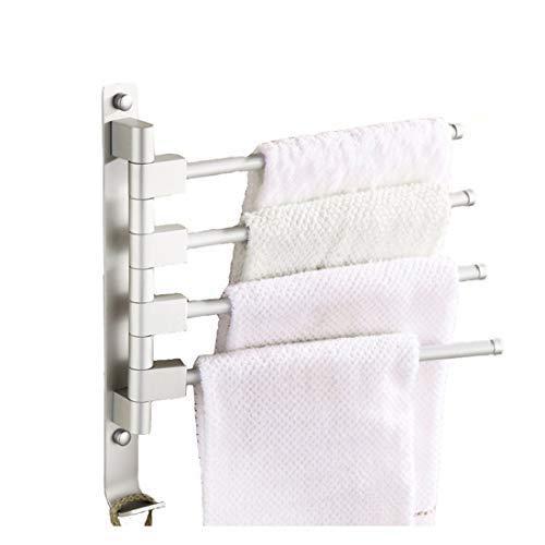 MOCOFO Barra de toalla giratoria, Toallero de Barra de Pared Montado, giratoria para baño Rack las Actividades de la Barra de Toalla de Aluminio con 4 Barras Giratorias
