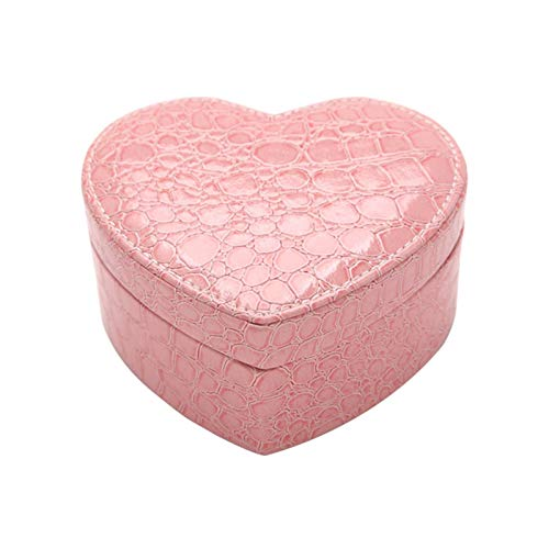 POHOVE Portable Jewelry Box, Heart Shape Crocodile Pattern Jewelry Box, Small Travel Jewelry Organizer Case, PU Leather Jewelry Box with Mirror for Rings Necklaces Bracelet