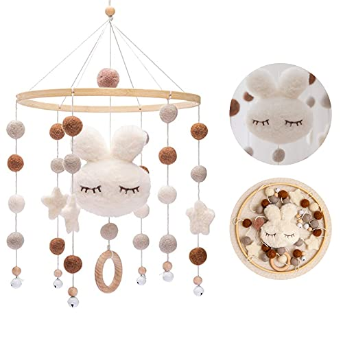 Promise Babe Mobile Baby Holz mit Filzbällen Kinderzimmer Hängende Bettglocke Hase Mobile Windspiel für Babybett Kinderbett (Weiß)