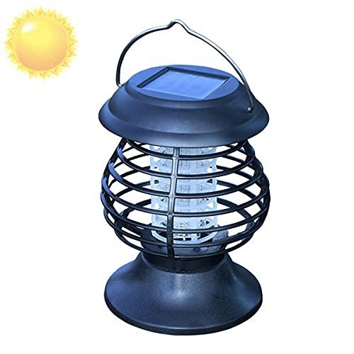 Asesino De Insectos Energía Solar, Lámpara Portátil para Mosquitos, con Descarga Eléctrica, Luz De Jardín, para Colgar, Flying Killer, Trampa para Insectos UV, para Exteriore, Hogar Jardín,Negro