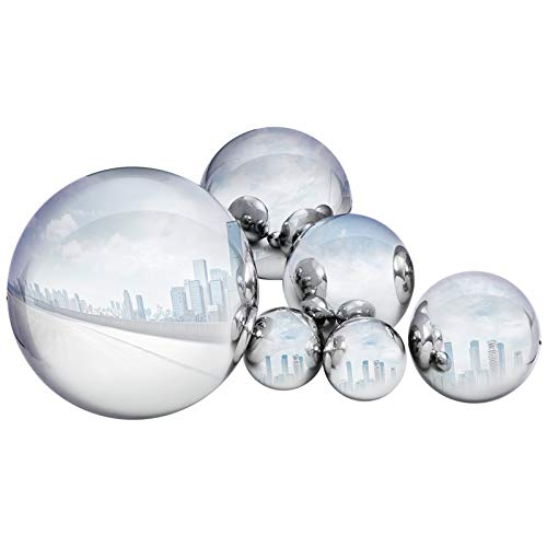 GloBrite 6 Pcs Stainless Steel Gazing Ball for Home Garden Ornament Decorations,50-150 mm Mirror Polished Hollow Ball Reflective Garden Sphere