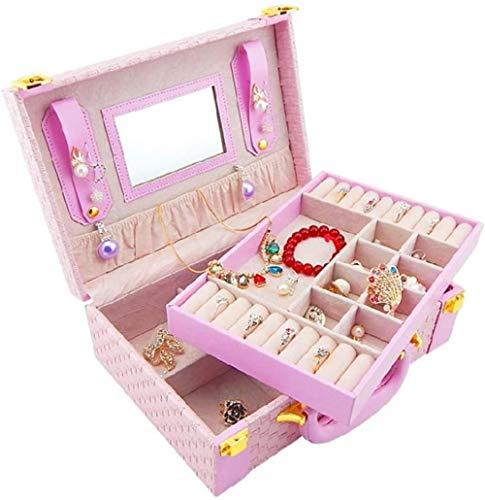 Caja de joyería de 2 capas pendientes anillo de PU collar pulsera caja de almacenamiento clásico reloj cinturón cerradura grande rosa para niñas mujeres madres hijas - rosa