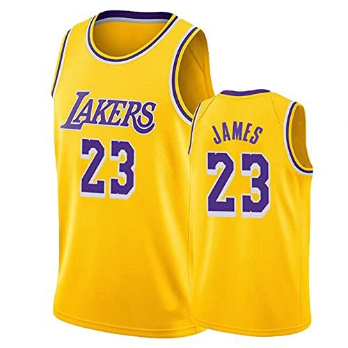 Camisa de Baloncesto de James # 23, Uniforme de Baloncesto de los Hombres de Hip-Hop de 90s, Space Movie Jersey, Amarillo S-XXL. Niños/Uniformes de Baloncesto juve Yellow-XXL