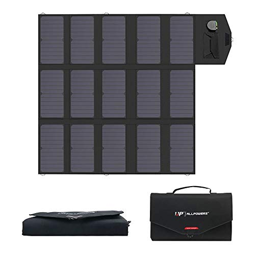 ALLPOWERS Portable Solar Panel 100W (Dual 5v USB with iSolar Technology+18v DC Output) SunPower Solar Charger Foldable Solar Panel for Laptop, Portable Generator, 12v Car, Boat, RV Battery