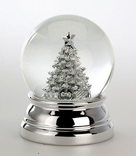 Exlusive Schneekugel mit Tannenbaum- versilbert und anlaufgeschützt - 10 cm- Gewicht 460 g