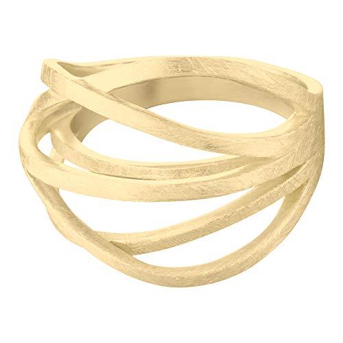Heideman Ring Damen Arcus aus Edelstahl Silber oder Gold Farben poliert Damenring für Frauen zeitlos und doch verspielt vergoldet Gr.64 hr24800-7-64