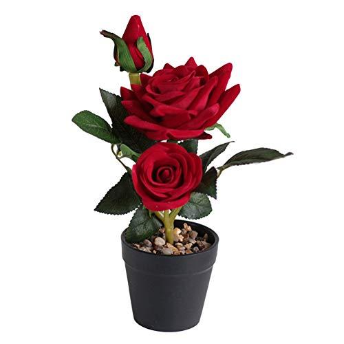 Dyyicun12 Künstliche Rosen im Topf, Bonsai-Pflanze, Garten, Hochzeit, Zuhause, Party, Büro, Restaurant, Hoteldekoration