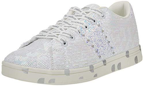 Desigual Shoes_Cosmic_Sequins, Donna di Sneakers, White, 40 EU