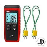 UNI-T デジタル温度計 デュアルチャンネル温度センサー K/Jタイプ熱電対センサー LCDバックライト UT320D