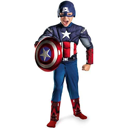 MIAOXI Traje De Cosplay De Capitn Amrica Traje De Halloween para Nios Mono Ropa Escudo Puede Emitir Luz Y Sonido,Captain America- 120~130cm