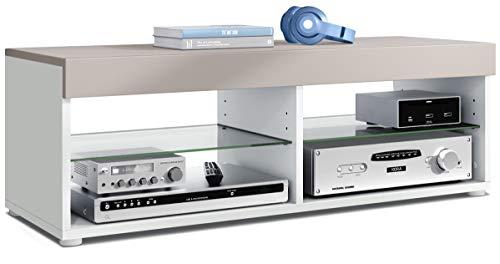 Vladon TV Lowboard Fernsehtisch Pure, Korpus in Weiß matt/Blende und Oberboden in Mocca matt | Große Farbauswahl