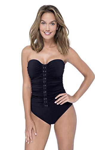 Profile by Gottex Women's Center Detail Bandeau One Piece Swimsuit, Moto Black, 8