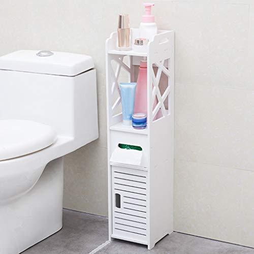 m·kvfa Badezimmer-Eckschrank, freistehend, für WC, Waschbecken, Organizer, Handtuchablage für Papierhalter