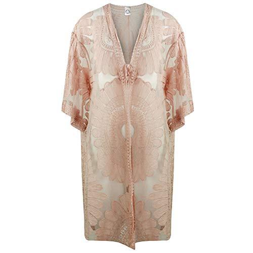 Storm Island - Kimono de Malla para Mujer Italiano, Bordado con Manga Larga y Nudo de Corbata Frontal Beige Color Carne Talla única