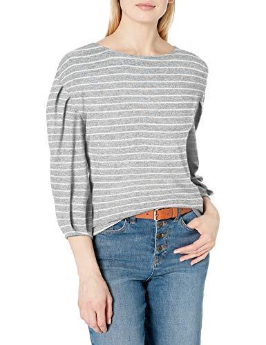 Amazon Brand - Daily Ritual Women's Cozy Knit Drop Shoulder Bateau Pleat-Sleeve Top, Heather Grey Marl/White Stripe, XX-Large