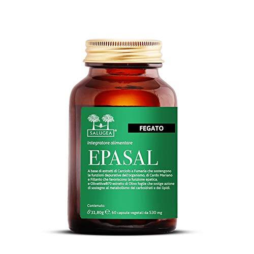 EPASAL Salugea - Integratore per la depurazione del fegato - Depurativo 100% naturale - 60 capsule vegetali - Flacone in Vetro (no plastica!)