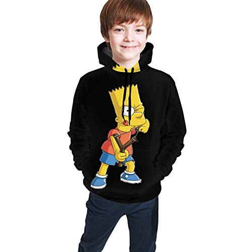 Kalinanai 3D Blue Anime Novelty Drinking bart Simpsons Sweatshirt Hoodie Pullover with Pocket for Teen Boys Girls Kids