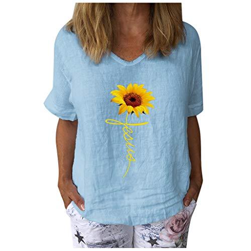 Best Deals! Toimothcn Womens Casual Tops Short Sleeve V-Neck Shirts Loose Blouse Basic Tee T-Shirt(L...