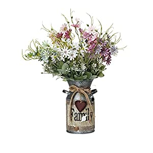 MiaTen 6Pcs 14″ Artificial Daisy Silk Wild Flowers Faux Greenery Shrubs Plants Arrangements in 7.5″H Rustic Family Greetings and Rope Design Milk Can Vase Decoration Home Office Desk Top Centerpieces