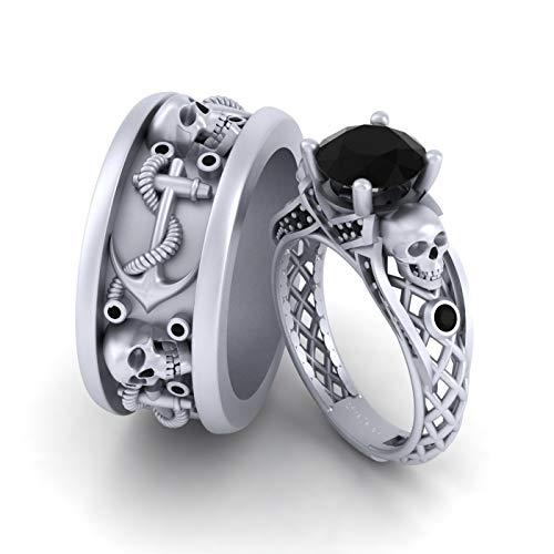Juego de anillos de compromiso de oro blanco sólido de 18 quilates con ancla de cuerda náutica y calavera gótica espeluznante